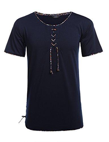 Coofandy Men Short Sleeves Floral Bandage Shirt Casual Hawaiian Tropical T Shirt (Wear Beach Men For)