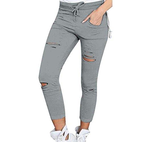Pantalon D'été Solide Femmes Avec De Mode Base Élégant Vêtements Longue Slim Taille Cordon Plus Déchiré La Crayon Couleur Grau Fit Haute Élastique rrd74