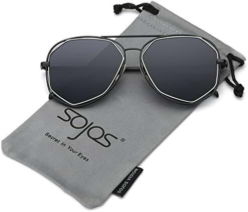SojoS Aviator Sunglasses Metal Frame Flat Mirrored Lens SJ1004