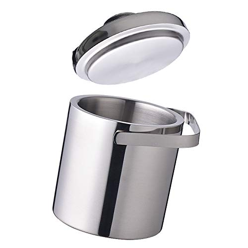 Ice Bucket by Kenray Living - Double Walled, Stainless Steel with Tongs in Lid - Water Tray Included - Compact and Portable - For Home or Commercial Use- Patio, Pool, Bar, RV, or Counter Top Accessory