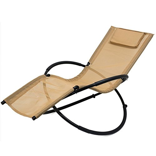 Zero Gravity Folding Orbit Chair Patio Lounger Reclining Rocking Relax Outdoor Tan - Stores Outlet Viejas