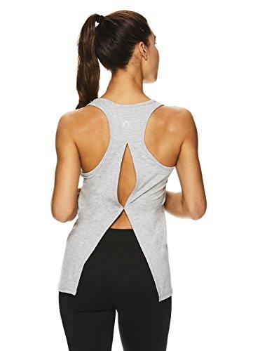 HEAD Women's Racerback Workout Tank Top - Ladies Activewear Shirt w/Open Back Detail - Grey Heather Cassanda, Small