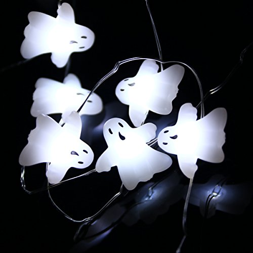 [LEORX Halloween Lights Battery Operated Ghost String Lights 3 Meters 40 LEDs Cool White] (Halloween Lighting)