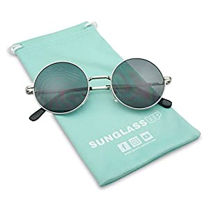 Sunglass Stop - Vintage Small Round Circle Hipster 1960s Trendy Sunglasses (Silver)