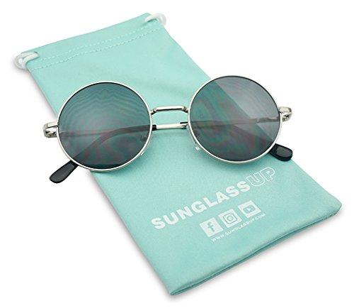 SunglassUP Small Round Silver Vintage John Lennon Sunglasses w/ Dark Black - Ebay Sunglasses Tinted