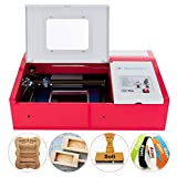 SUNCOO 40W CO2 Laser Engraving Machine Desktop Engraver Cutter DIY Arts and Crafts Machine Cutting Glass Wood Leather 12x8in with USB Port for Windows System Only (Red)