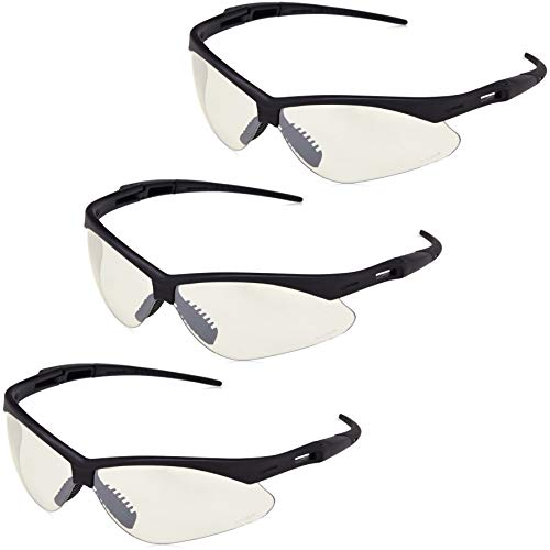 AmazonBasics Anti-Scratch Safety Glasses Eye Protection, UV-Resistant, Clear Mirror Lens, 3-Count