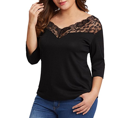 TOTOD Women's Plus Size Solid Lace Patchwork V-Neck T-Shirt Pullover Tops Blouse