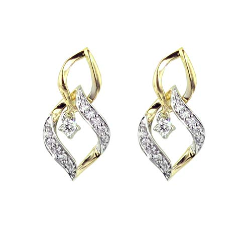Womens Dangle Earrings Yellow Gold-Tone Silver 1/4ctw Diamond Linked Leaf Pattern Diamond Earrings