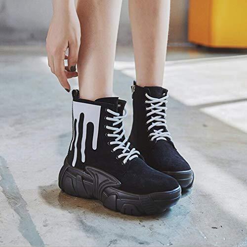 Stivaletti In Donna Fondo on colore Da Hy Black Sneakers All Scarpe White winter Comfort Dal Casual Camoscio Stivaletti Spesso Dimensione White Slip And 39 qXqEwv