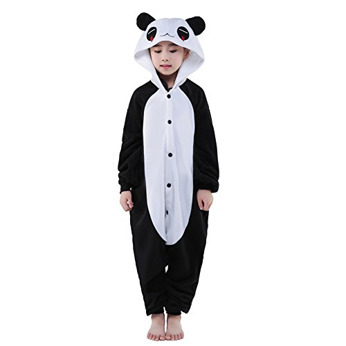 Newcosplay Unisex Children Red eyes Panda Pyjamas Halloween Costume (10-height (Girls Panda Halloween Costume)