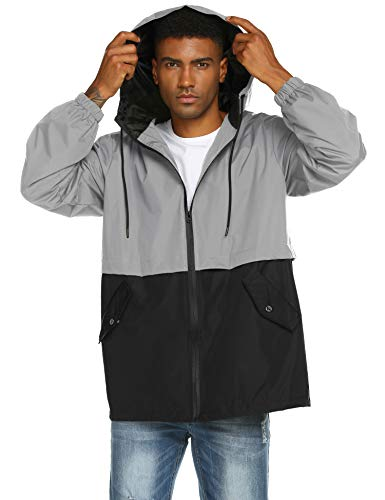 poriff Men's Lightweight Raincoat Windbreaker with Hood Breathable Quick Dry Packable Jacket Grey L