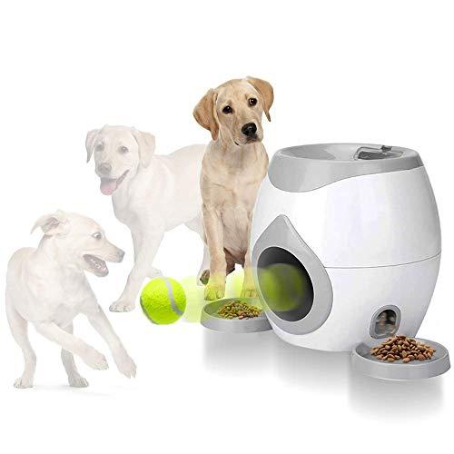 Dog Interactive Toys Pet Tennis Ball Throwing Fetch Machine Food Dispensing Reward Game Training Tool Slow Feeder Puzzle (Puppy Fetch Machine)