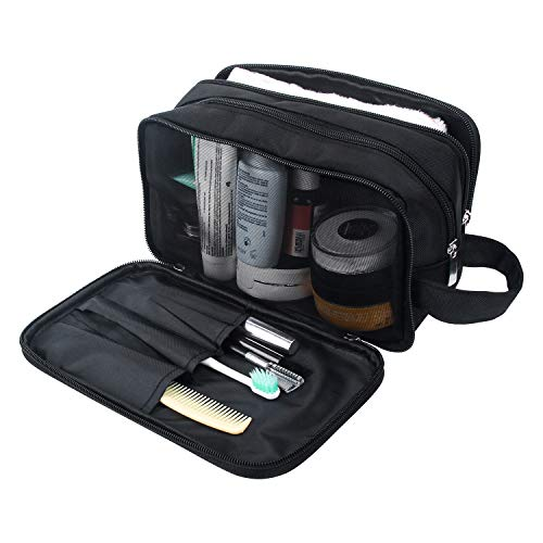 - Mens Toiletry Bag, Waterproof Dopp Kit for Men Hanging Travel Shaving Wash Bags (Black)