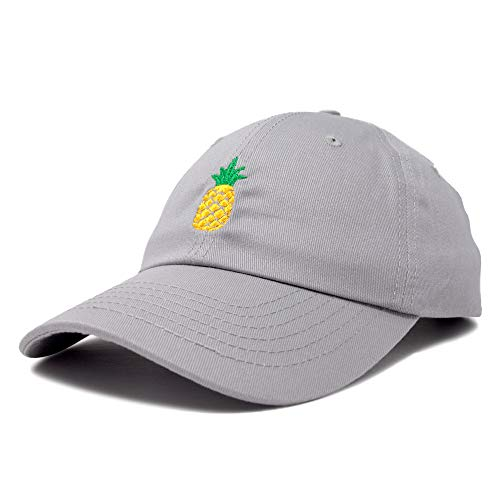 DALIX Pineapple Dad Hat Cotton Twill Baseball Cap Premium Stitched Gray ,Large -