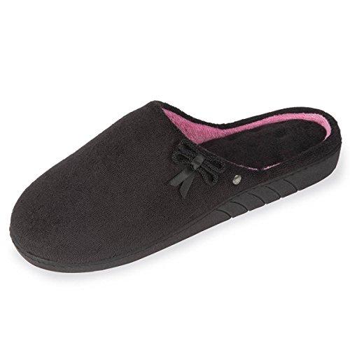 Zapatillas chinelas lisas para mujer Isotoner Negro