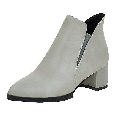 VogueZone009 Damen Ziehen auf Spitz Zehe Mittler Absatz PU Rein Stiefel Grau
