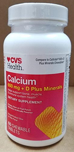 CVS Health Calcium 600 mg + D Plus Minerals Help Support Bone, Muscle, & Immune System Health Dietary Supplement 60 Chewable Tablets COMPARE TO CALTRATE 600+D Plus MINERALS CHEWABLE