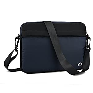 NuVur Slim Lightweight Shoulder Strap Messenger Bag with Front and Rear Pockets for Datawind UbiSlate 9ci, 9W   Black and Navy blue