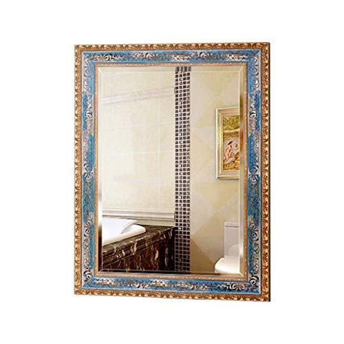 JN Wall-mounted Bathroom Mirror, 450 600mm Large Size Simple Beveled Elegant Wooden -