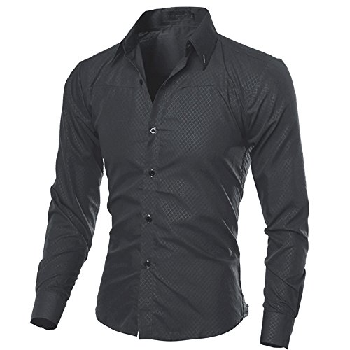 SFE Mens Fashion Shirts,Man Printed Blouse Casual Long Sleeve Slim Shirts Tops Black