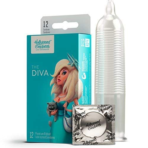 Hollywood Condoms Love Performance The Diva Premium, Natural Latex Lubricated Condom for Men, Women, 12 Condoms ()