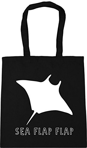 42cm Gym Tote litres x38cm stingray Sea flap Beach Shopping HippoWarehouse Bag flap Black 10 CwpYzxIq