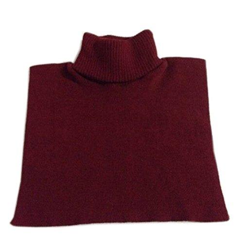 Joyci Women's Knit Turtleneck Dickey Winter Unisex Fake Collar Keep Warm (Wine Red)