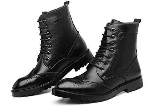 WZG Die neuen Martin Stiefel Bullock geschnitzt Leder High-Top Schuhe in Europa und Amerika-Gezeiten Stiefel zeigte Stiefel , black , 43