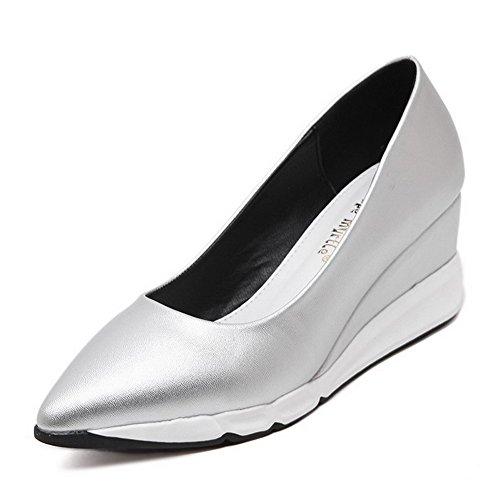 AalarDom Damen Mittler Absatz Weiches Material Rein Ziehen Auf Pumps Schuhe Silber