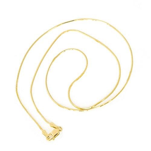 Beauniq 10k Yellow Gold 0.9mm Octagonal Snake Chain Necklace, (0.9 Mm Octagonal Snake)