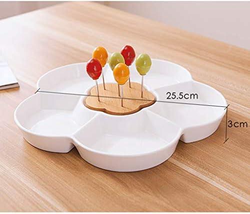 フルーツボウル 6つのフォークと日本の陶磁器ナットボックスドライフルーツボウルストレージラック、大容量6コンパートメントデザインのキッチンとリビングルームスナック菓子ナッツキャンディープレートディスプレイスタンド、25.5x3cm