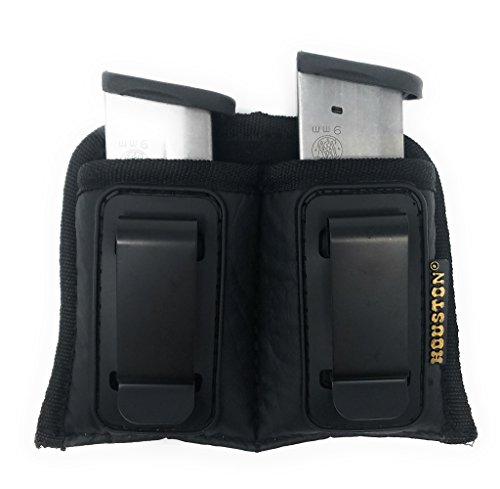 Double Concealment Tactical Magazine IWB Pouch - Houston - ECO Leather Multi Use Pouch Single and Double Stack .380 .9mm .40 and .45 Cal