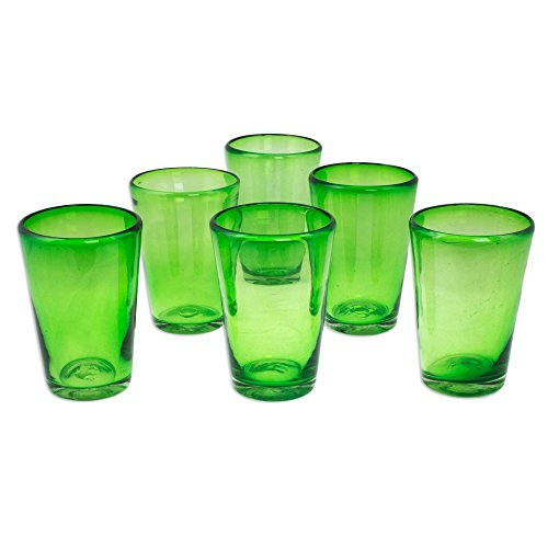 NOVICA Hand Blown Green Recycled Lime Twist' (Set of 6) Drinking Glasses]()