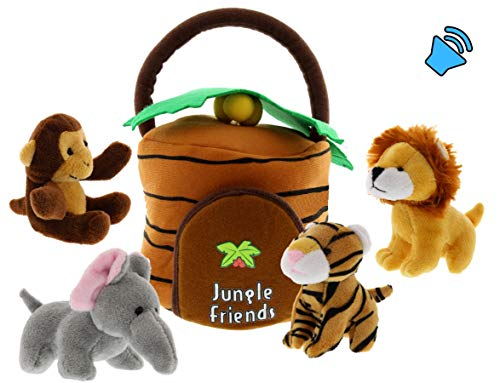 Talking Interactive Plush Jungle Animals Toy Set with Jungle House Carrier for Kids- 5pc- Stuffed Monkey, Lion, Tiger & Elephant- Great for Boys & Girls, Learning Baby toys by Etna