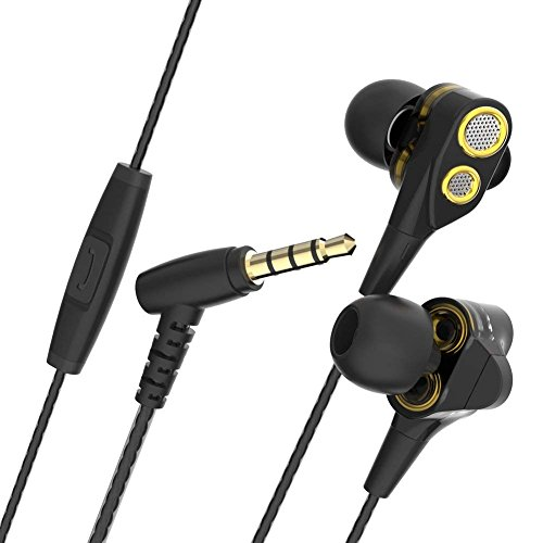 in Ear Headphone Earbuds CBAOOO Dual Dynamic Drivers Headset, Super Heavy Bass Noise Isolation Wired Earphone with Microphone for All Smartphones