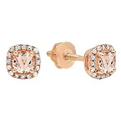 White Diamond Halo Style Stud Earrings