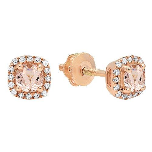 Morganite White Earrings - 10K Rose Gold 3.5 MM Each Round Gemstone & White Diamond Ladies Halo Style Stud Earrings (Morganite)