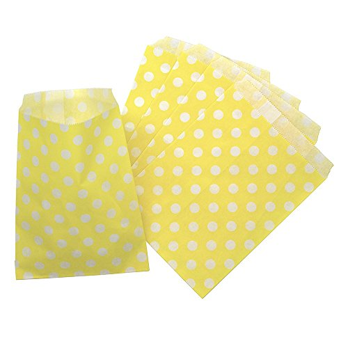 CTIGERS Yellow Polka Dots Party Favor Paper Bags Treet Bag 5