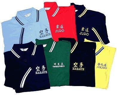 Farbe hellblau Poloshirt bestickt mit Judo bestickt in navy Gr M