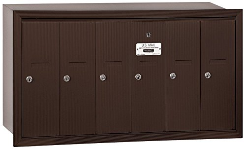 Salsbury Industries 3506ZRU Recessed Mounted Vertical Mailbox with USPS Access and 6 Doors, Bronze by Salsbury Industries