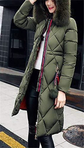 Larga Hipster Cremallera Outwear Invierno Laterales Sólidos Parkas Pluma Largos Con Estilo Bolsillos Manga Armgrün Unicolor Mujer Colores Especial z016Xxnx