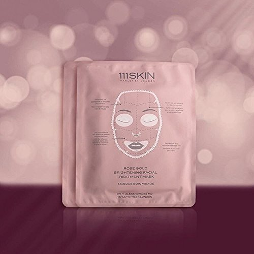 Essence 5 Mask Sheets (111Skin 24K Rose Gold Facial Treatment Mask - Light And Thin Tencel Material. The Essence Permeates Into Skin Easily By Soaked In Rich Serum Thin Mask Sheets - 5 Pack)