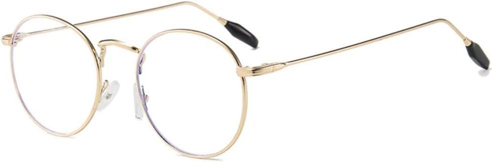Anti-Blaulicht Nicht verschreibungspflichtige Brille Gold Kamiwwso Herren-Brille mit rundem Rahmen Strahlungsschutz