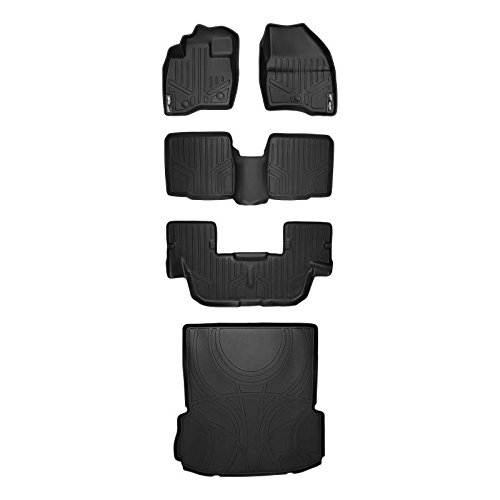 Maxliner 2017-2018 Ford Explorer Without 2nd Row Center Console Floor Mats 3 Rows Maxtray Cargo Liner Set Black A0245/B0082/C0082/D0082 (Console Row Cargo)