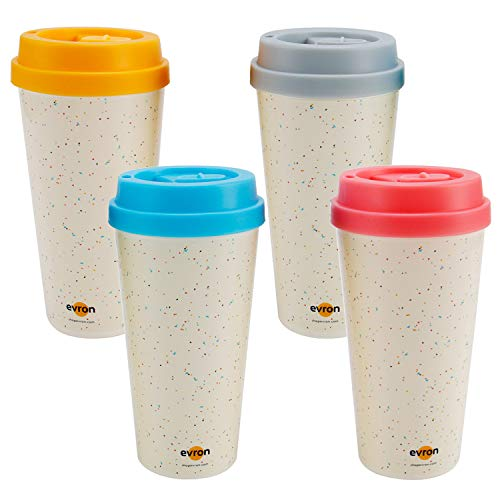(Evron Spill Proof Travel Mug with Anti-Leak Locking Lid, Insulated Double-Wall Coffee Mugs for Hot and Cold Drinks (16oz 4 Pack))