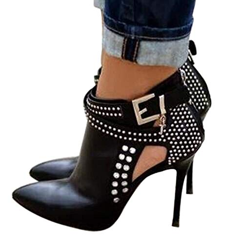 Ankle Boots for Women,Bare Legged Pointed Womens Boots, Rhinestone Booties Black