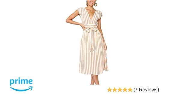 17b76452e6 Aromelle Womens Summer Dresses Boho Striped Button V Neck Sleeveless Bow  Tie Waist A Line Midi Skater Dress at Amazon Women s Clothing store