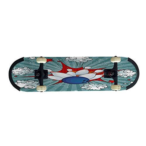 ateboard Personality Skate,Comic Cartoon Style Ball Crash Pop Art Blast,Maple Adult Figure Skateboarding Beginners, Adolescents, Boys, Girls Birthday Gift Skateboards31