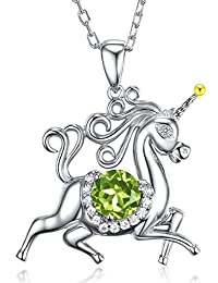 "Unicorn August Birthstone Green Peridot Necklace Jewelry Birthday Gifts for Women Girls Green Emerald Animal Sterling Silver Jewelry 20"" Chain"